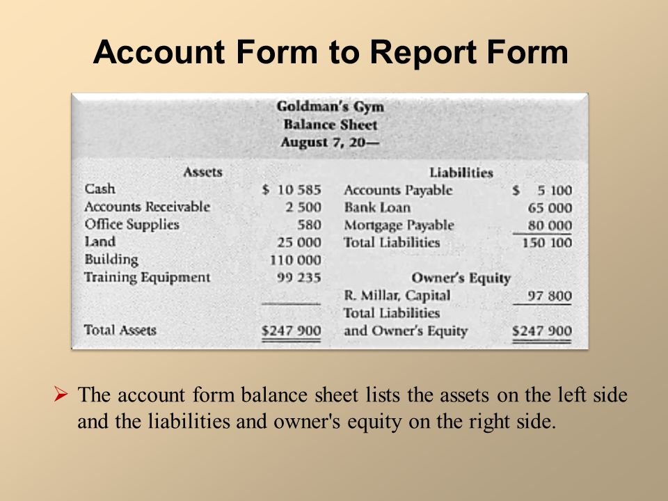 Chart of Accounts and Formal Financial Statements The recording – Report Form Balance Sheet