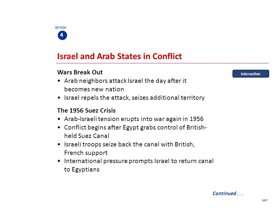 next section 4 conflicts in the middle east division of palestine