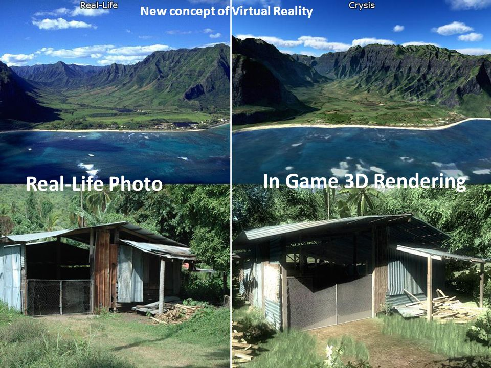New concept of Virtual Reality Real-Life Photo In Game 3D Rendering