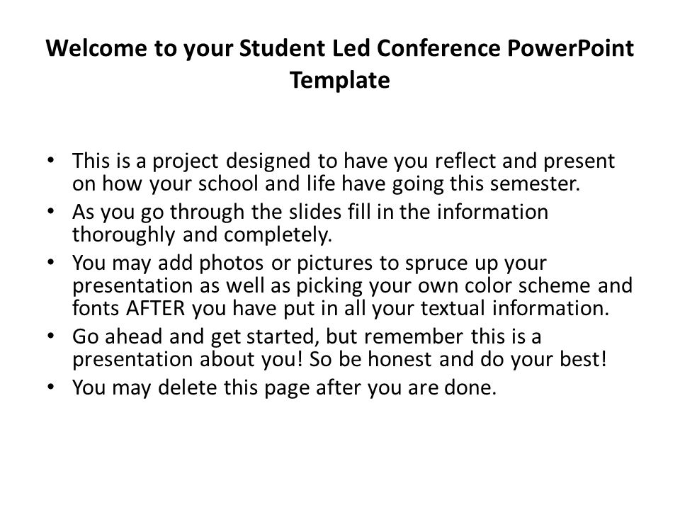 Welcome to your student led conference powerpoint template this is welcome to your student led conference powerpoint template this is a project designed to have you toneelgroepblik Images