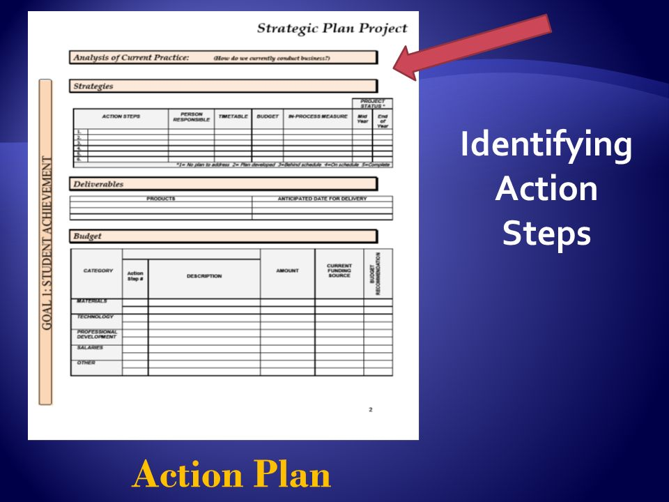 Action Plan Identifying Action Steps