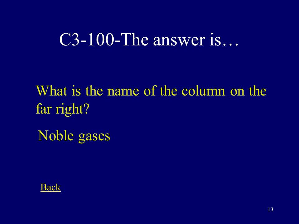 12 C2-500-The answer is… Where is the most reactive metal Bottom left Back