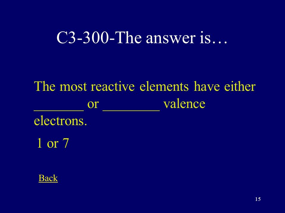 14 C3-200-The answer is… Elements in the Halogen group have __________ valence electrons 7 Back