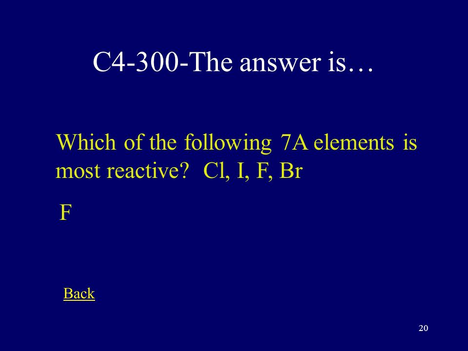 19 C4-200-The answer is… Which of the following 1A elements is most reactive Cs, Li, K, Na Cs Back
