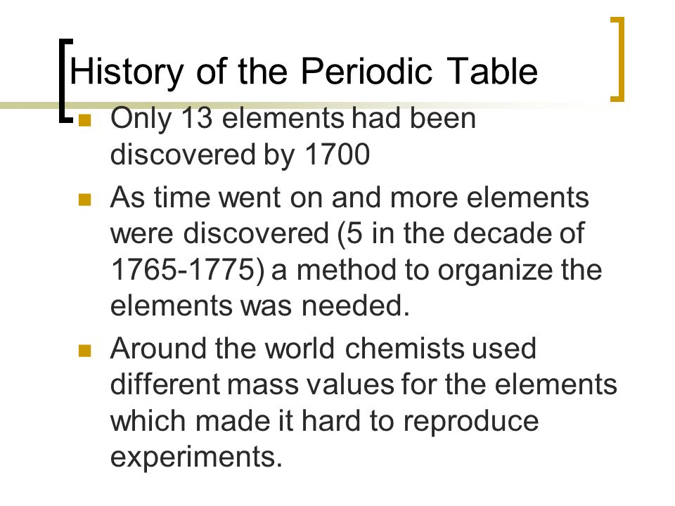 The periodic table ch 6 history of the periodic table only 13 history of the periodic table only 13 elements had been discovered by 1700 as time went urtaz Images