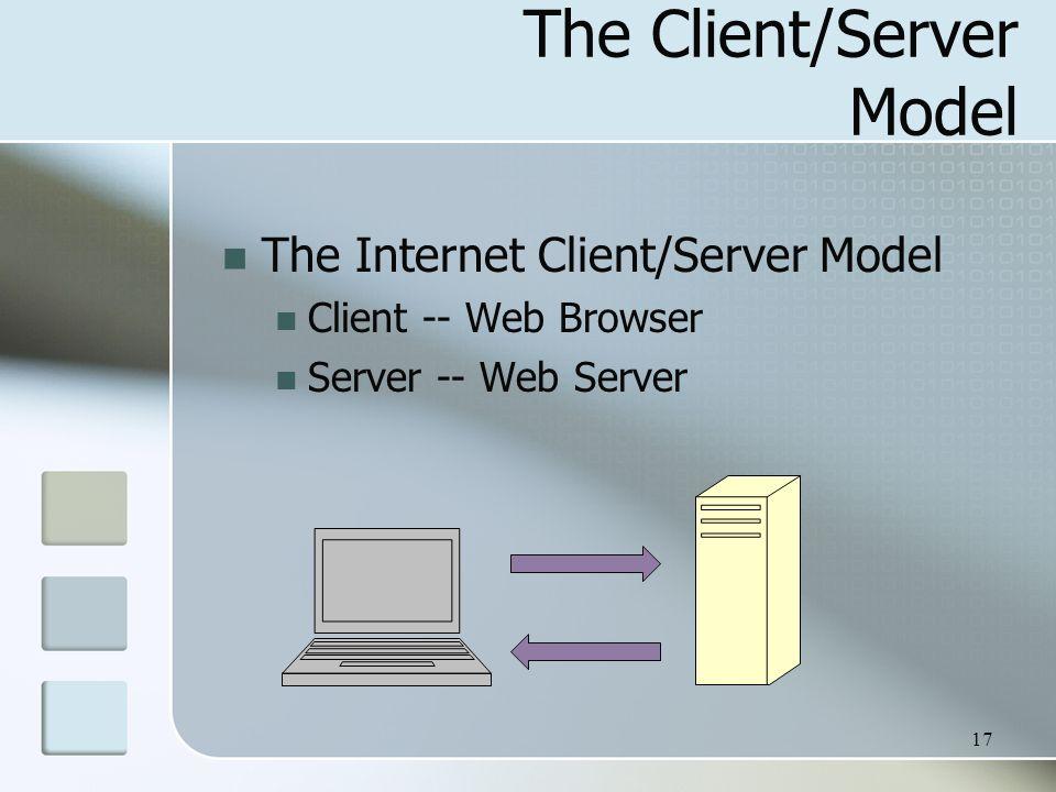 17 The Client/Server Model The Internet Client/Server Model Client -- Web Browser Server -- Web Server