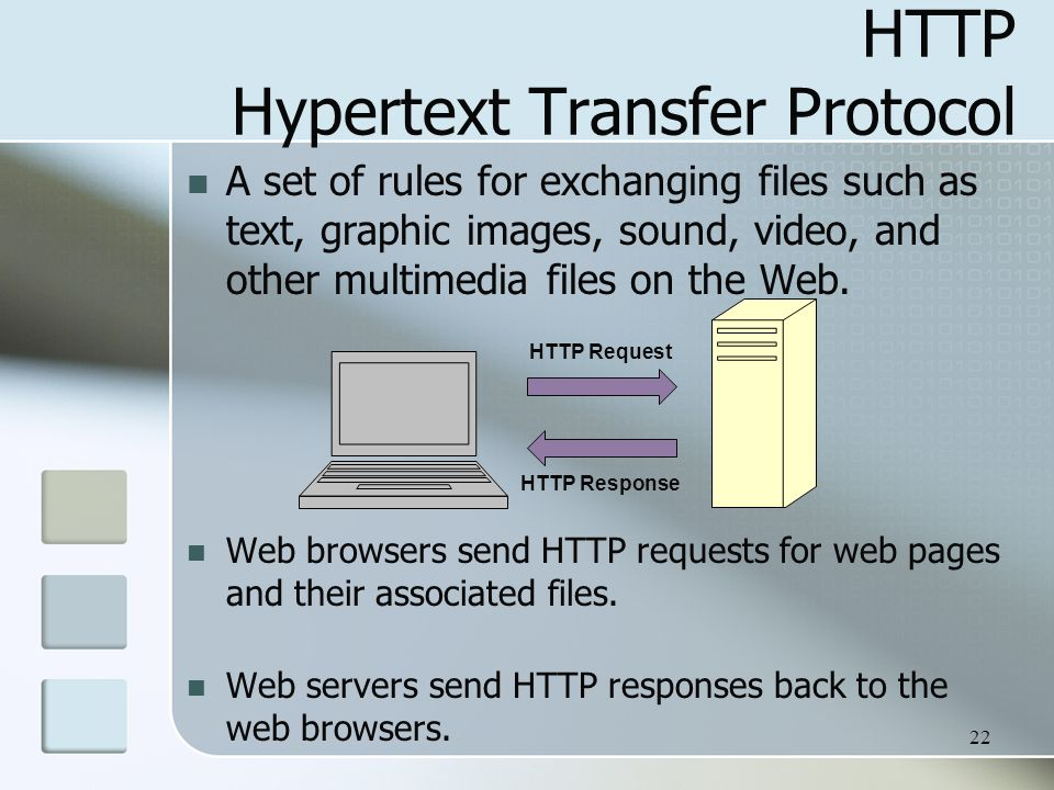 22 HTTP Hypertext Transfer Protocol A set of rules for exchanging files such as text, graphic images, sound, video, and other multimedia files on the Web.