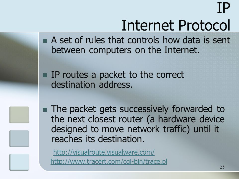 25 IP Internet Protocol A set of rules that controls how data is sent between computers on the Internet.