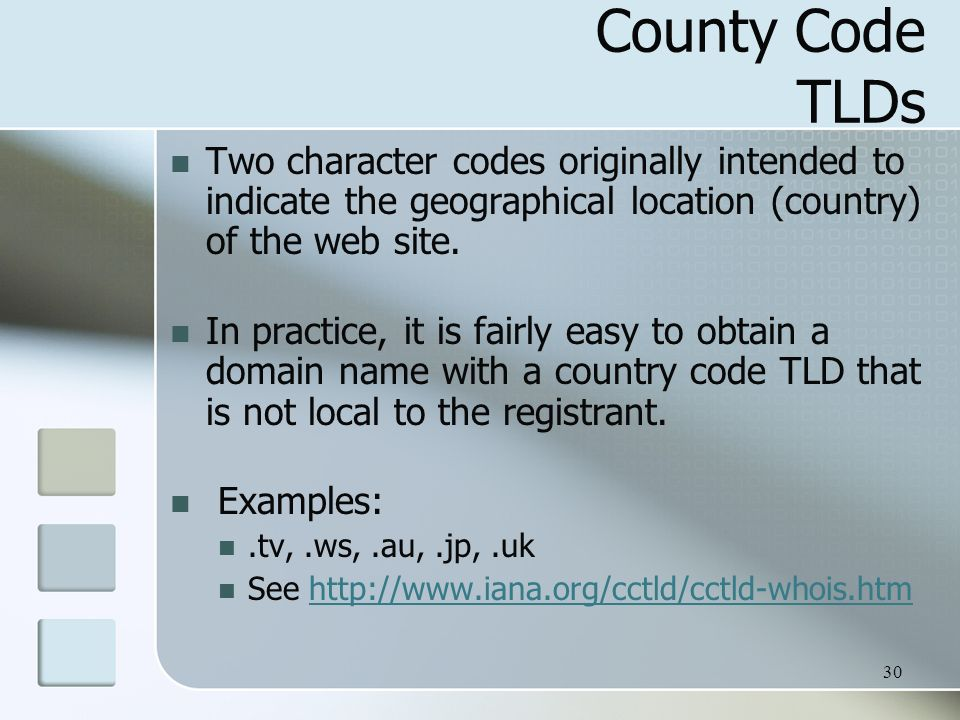30 County Code TLDs Two character codes originally intended to indicate the geographical location (country) of the web site.