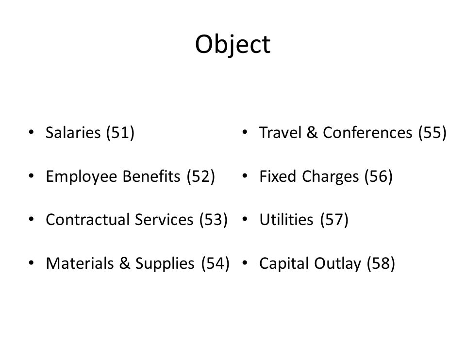 Object Salaries (51) Employee Benefits (52) Contractual Services (53) Materials & Supplies (54) Travel & Conferences (55) Fixed Charges (56) Utilities (57) Capital Outlay (58)