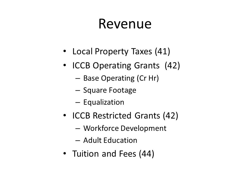 Revenue Local Property Taxes (41) ICCB Operating Grants (42) – Base Operating (Cr Hr) – Square Footage – Equalization ICCB Restricted Grants (42) – Workforce Development – Adult Education Tuition and Fees (44)