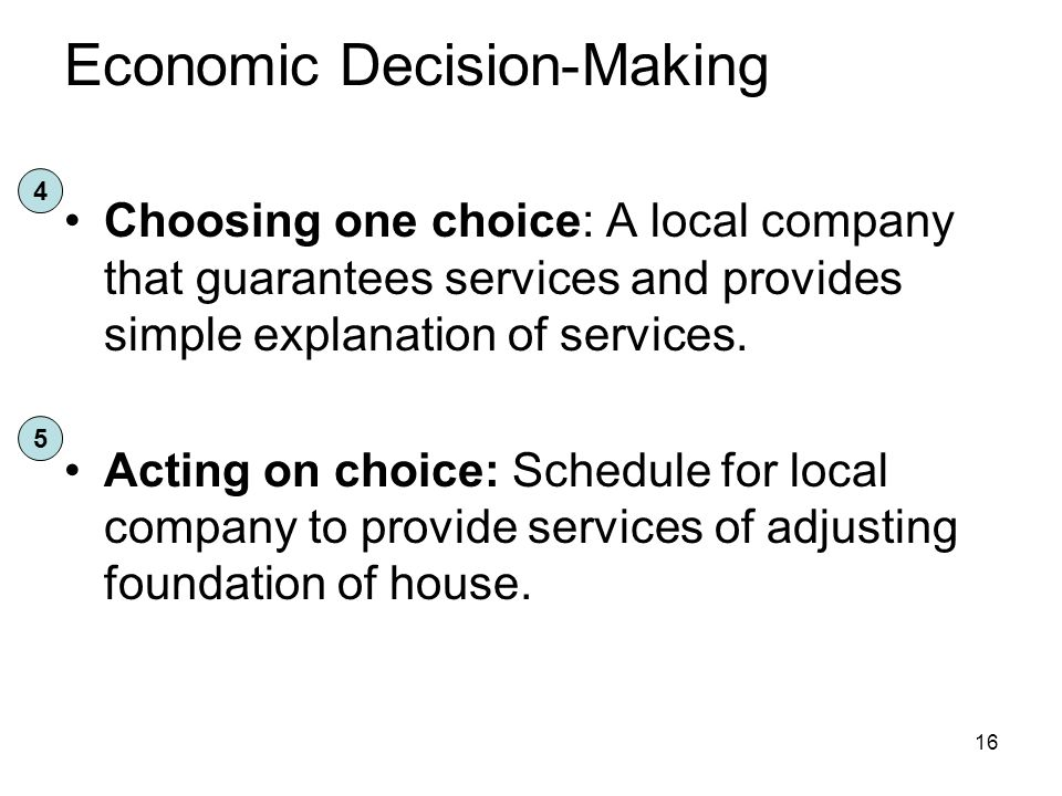 Economic Decision-Making Choosing one choice: A local company that guarantees services and provides simple explanation of services.
