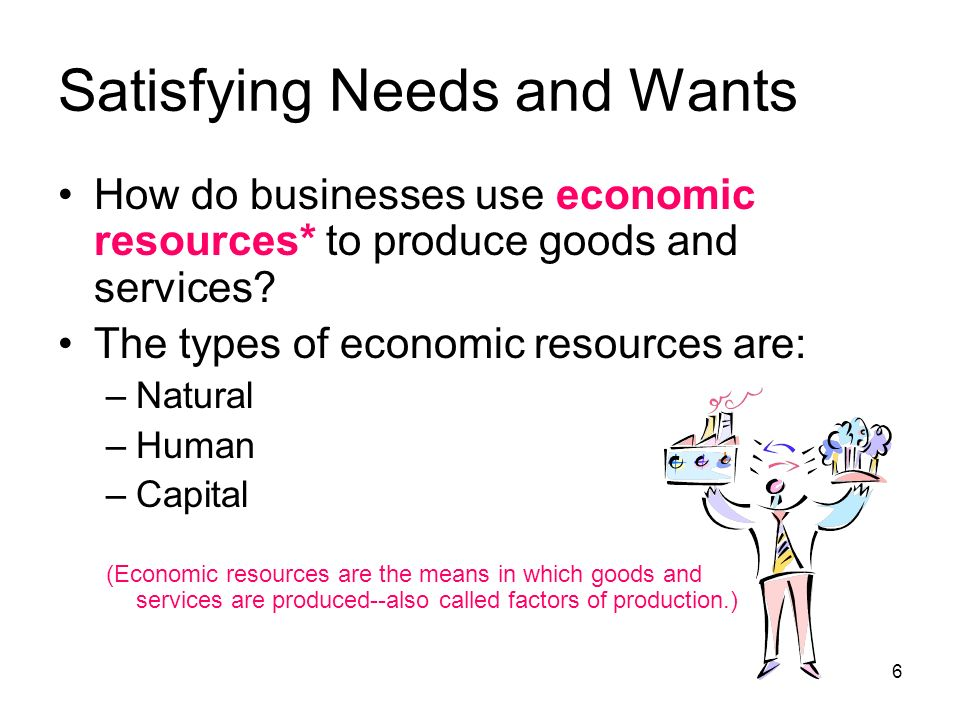 Satisfying Needs and Wants How do businesses use economic resources* to produce goods and services.