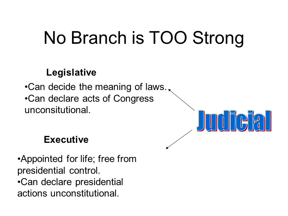 No Branch is TOO Strong Executive Legislative Appointed for life; free from presidential control.