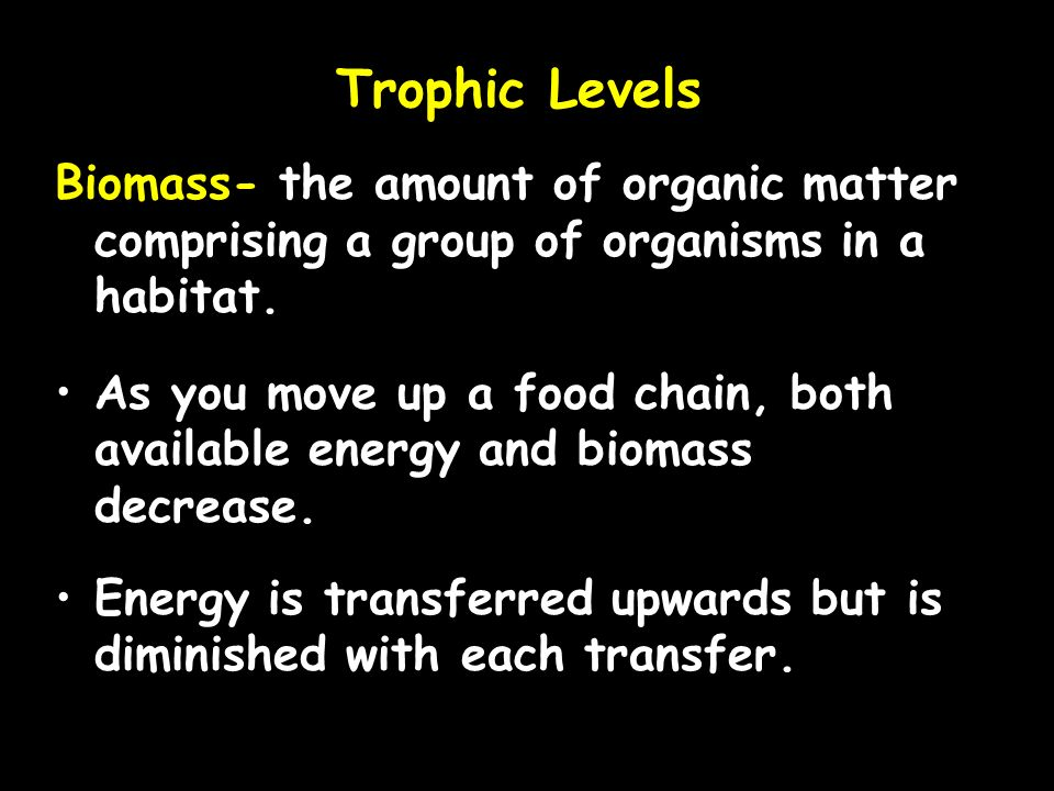 Trophic Levels Biomass- the amount of organic matter comprising a group of organisms in a habitat.