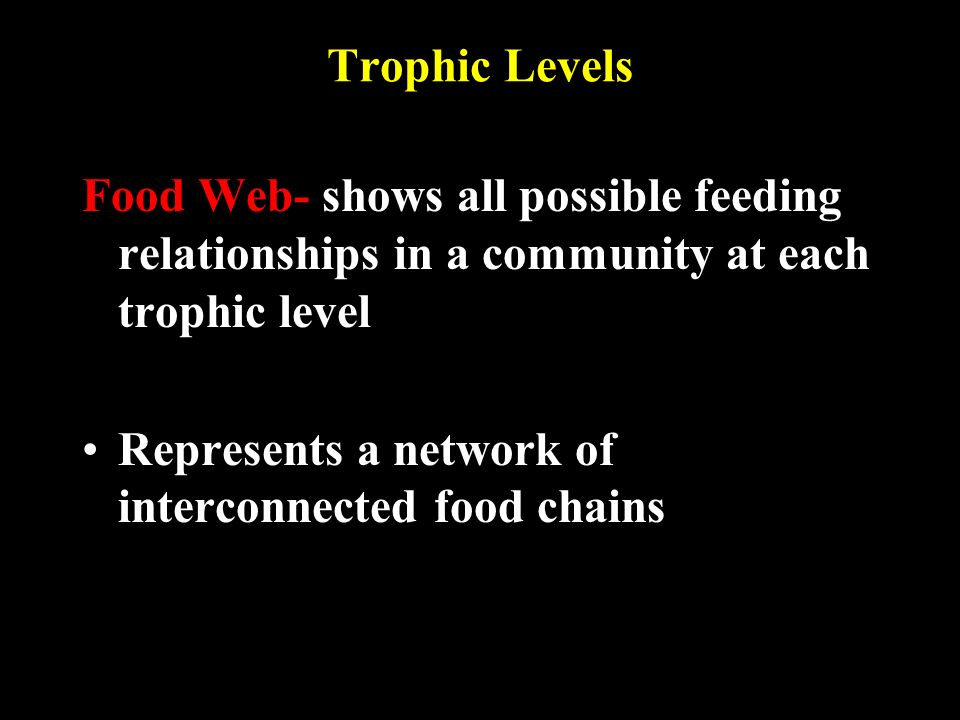 Trophic Levels Food Web- shows all possible feeding relationships in a community at each trophic level Represents a network of interconnected food chains