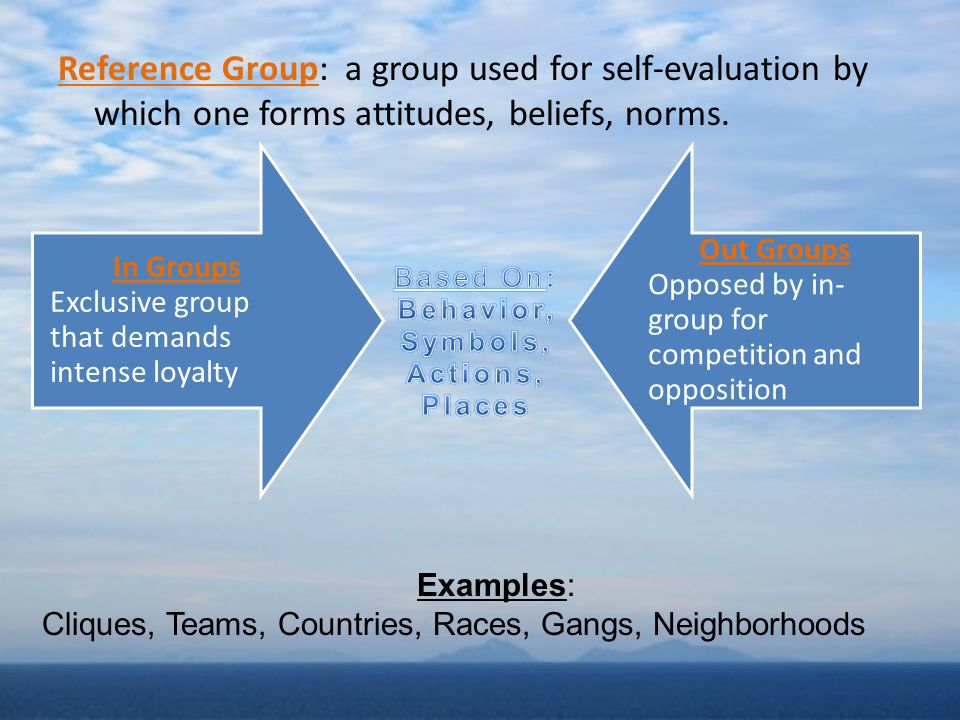 Reference Group: a group used for self-evaluation by which one forms attitudes, beliefs, norms.