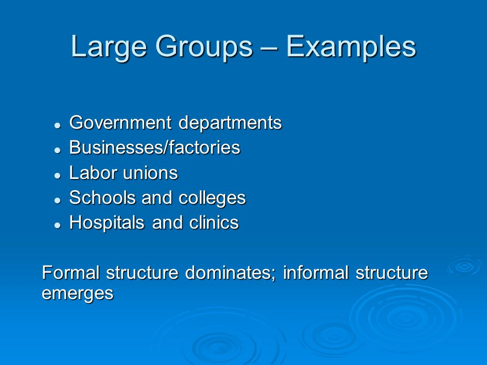 Large Groups – Examples Government departments Government departments Businesses/factories Businesses/factories Labor unions Labor unions Schools and colleges Schools and colleges Hospitals and clinics Hospitals and clinics Formal structure dominates; informal structure emerges