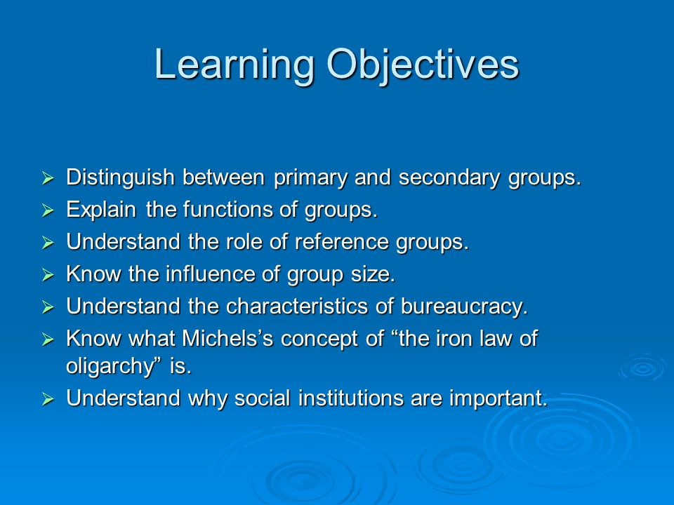 Learning Objectives  Distinguish between primary and secondary groups.
