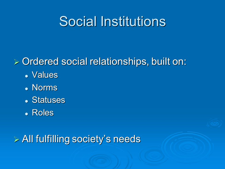 Social Institutions  Ordered social relationships, built on: Values Values Norms Norms Statuses Statuses Roles Roles  All fulfilling society's needs