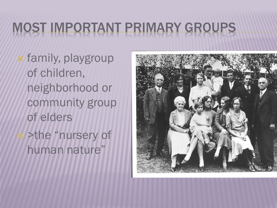  family, playgroup of children, neighborhood or community group of elders  >the nursery of human nature
