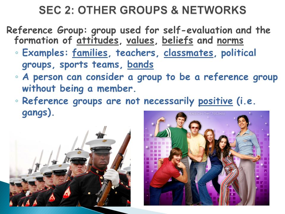 Reference Group: group used for self-evaluation and the formation of attitudes, values, beliefs and norms ◦ Examples: families, teachers, classmates, political groups, sports teams, bands ◦ A person can consider a group to be a reference group without being a member.