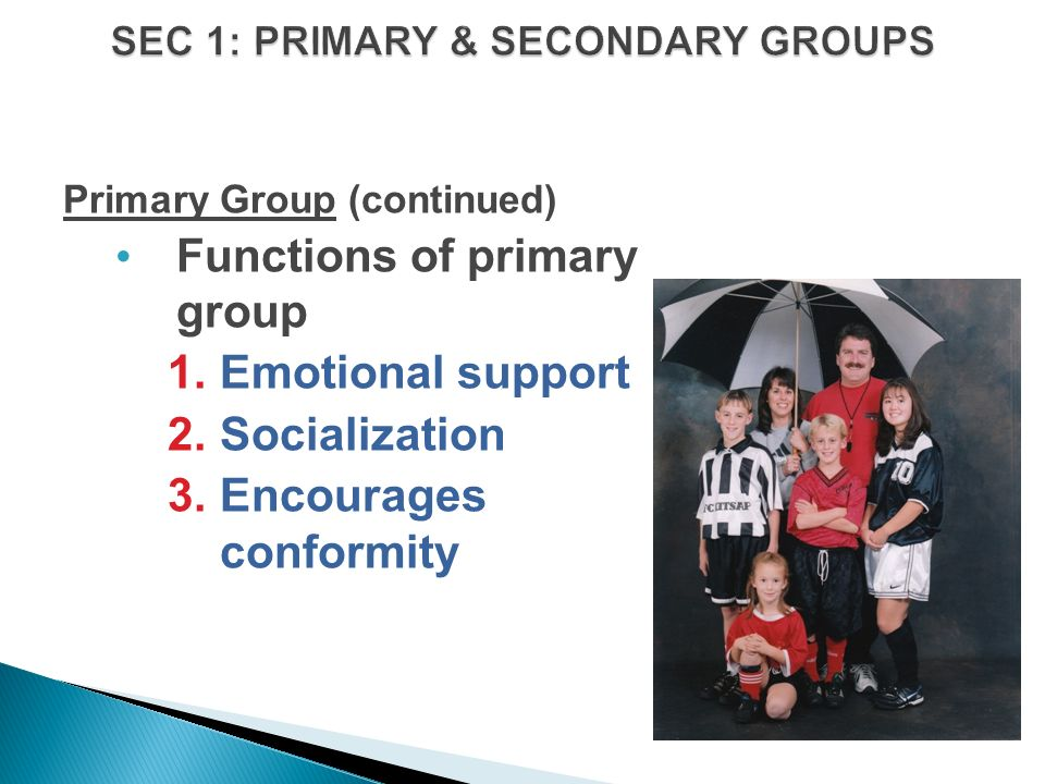 Primary Group (continued) Functions of primary group 1.Emotional support 2.Socialization 3.Encourages conformity