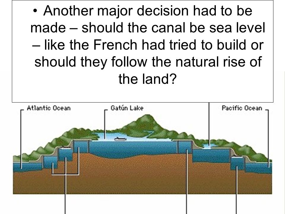 Another major decision had to be made – should the canal be sea level – like the French had tried to build or should they follow the natural rise of the land