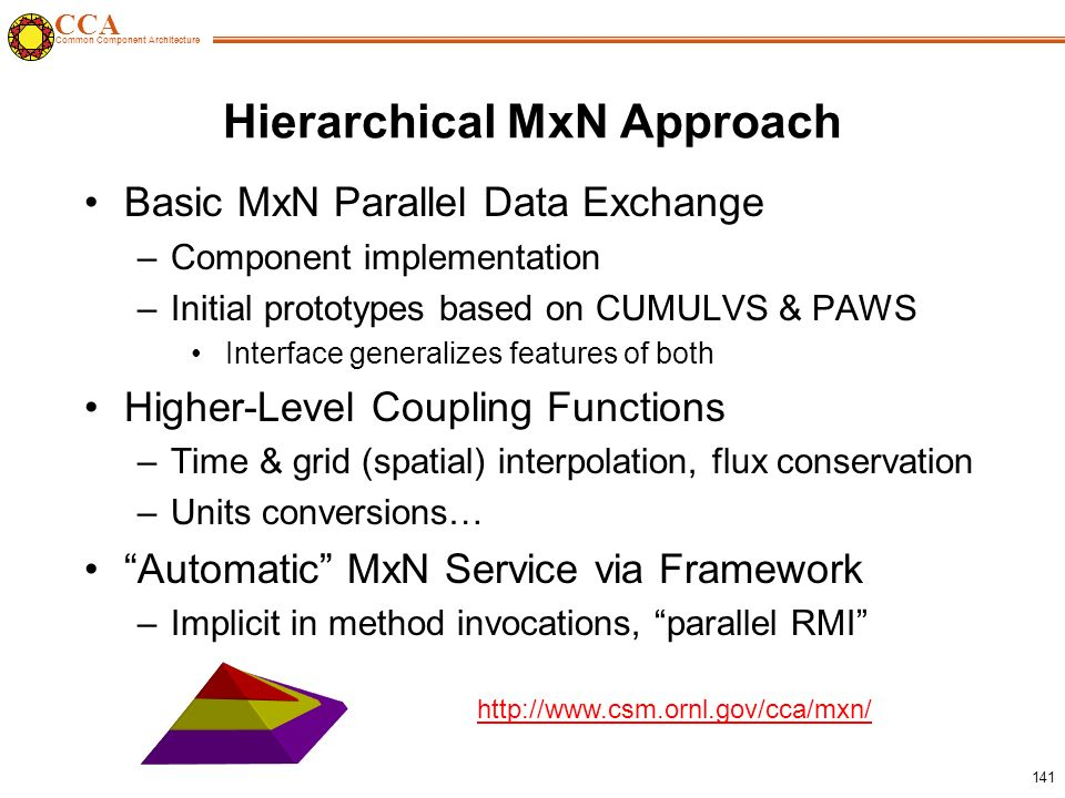 CCA Common Component Architecture 141 Hierarchical MxN Approach Basic MxN Parallel Data Exchange –Component implementation –Initial prototypes based on CUMULVS & PAWS Interface generalizes features of both Higher-Level Coupling Functions –Time & grid (spatial) interpolation, flux conservation –Units conversions… Automatic MxN Service via Framework –Implicit in method invocations, parallel RMI http://www.csm.ornl.gov/cca/mxn/