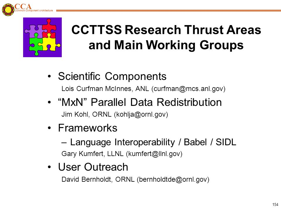 CCA Common Component Architecture 154 CCTTSS Research Thrust Areas and Main Working Groups Scientific Components Lois Curfman McInnes, ANL (curfman@mcs.anl.gov) MxN Parallel Data Redistribution Jim Kohl, ORNL (kohlja@ornl.gov) Frameworks –Language Interoperability / Babel / SIDL Gary Kumfert, LLNL (kumfert@llnl.gov) User Outreach David Bernholdt, ORNL (bernholdtde@ornl.gov)