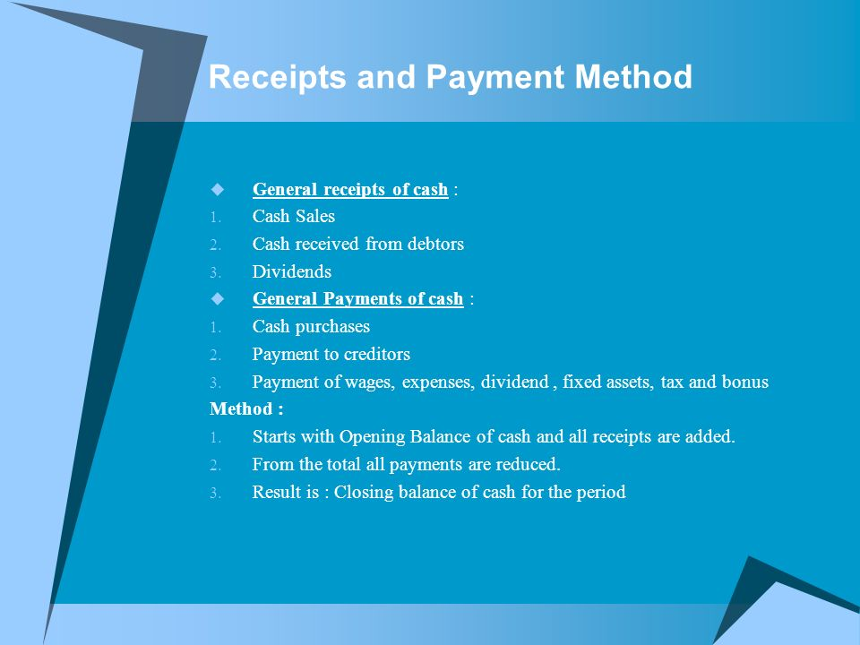 Receipts and Payment Method  General receipts of cash : 1.