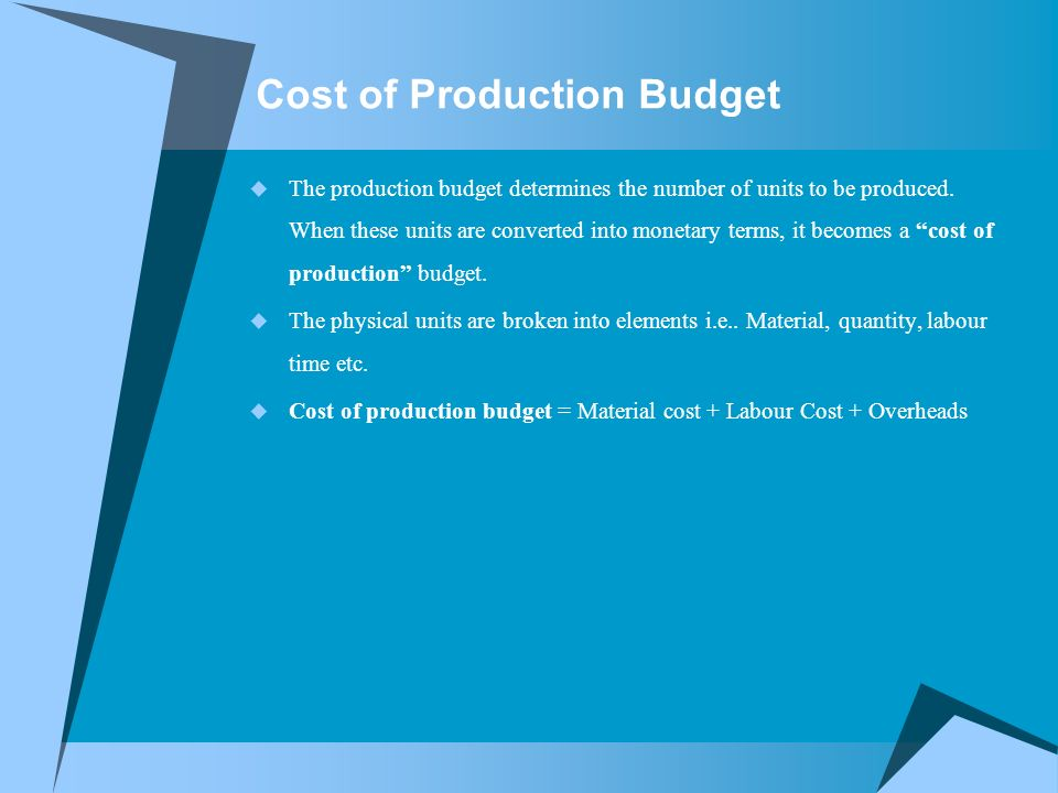 Cost of Production Budget  The production budget determines the number of units to be produced.