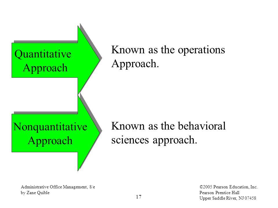 17 Administrative Office Management, 8/e by Zane Quible ©2005 Pearson Education, Inc. Pearson Prentice Hall Upper Saddle River, NJ 07458 Quantitative