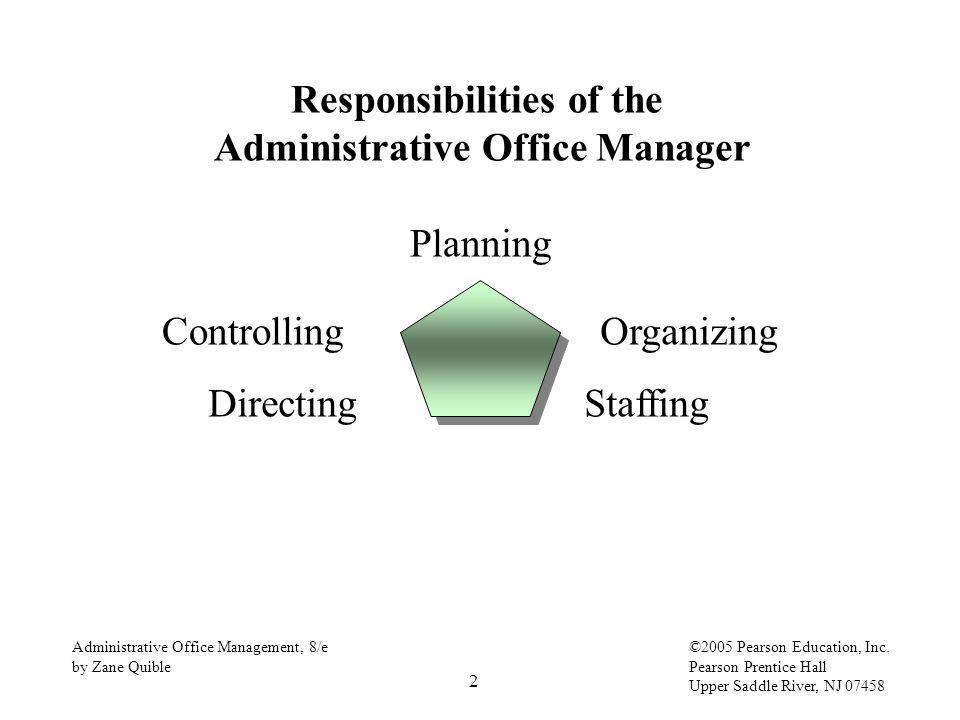 2 Administrative Office Management, 8/e by Zane Quible ©2005 Pearson Education, Inc. Pearson Prentice Hall Upper Saddle River, NJ 07458 Responsibiliti
