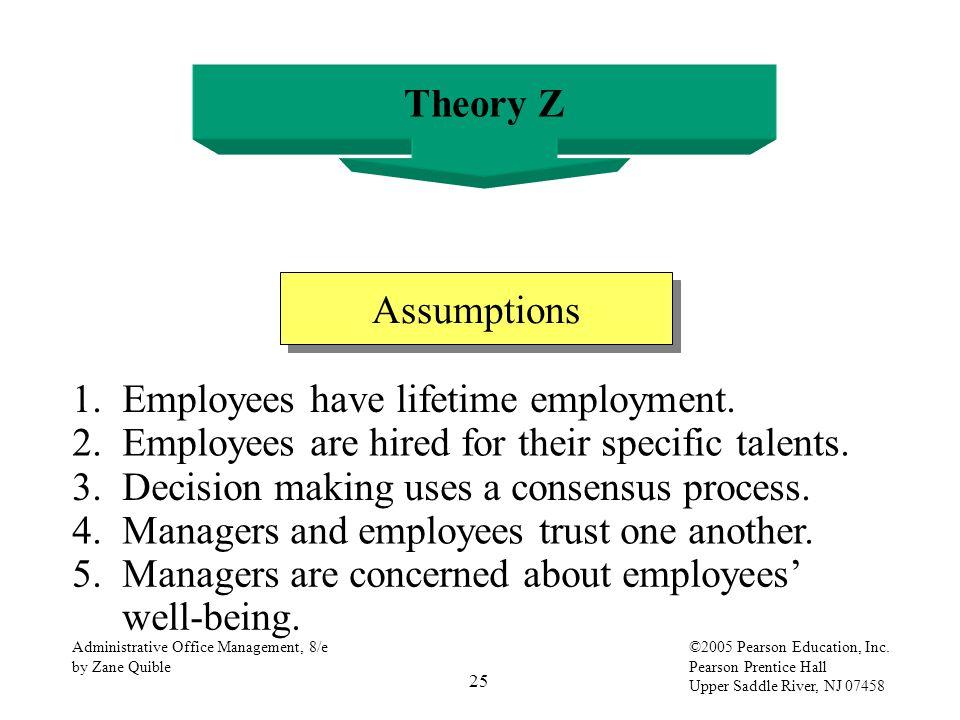 25 Administrative Office Management, 8/e by Zane Quible ©2005 Pearson Education, Inc. Pearson Prentice Hall Upper Saddle River, NJ 07458 Theory Z Assu