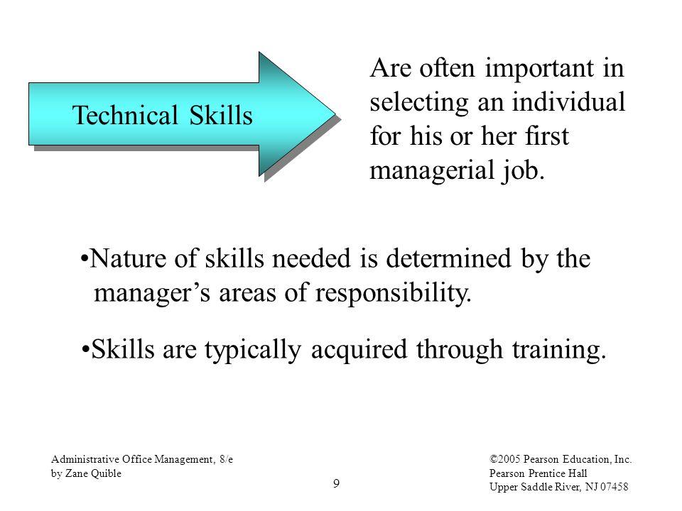 9 Administrative Office Management, 8/e by Zane Quible ©2005 Pearson Education, Inc. Pearson Prentice Hall Upper Saddle River, NJ 07458 Technical Skil