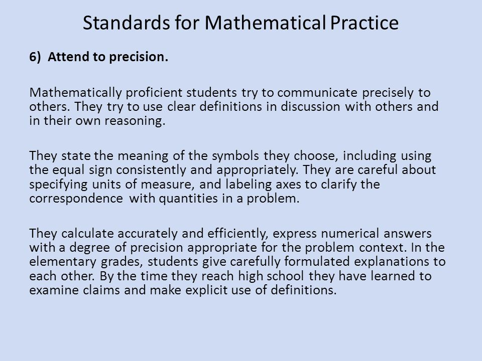 Common Core State Standards in Mathematics What science teachers ...