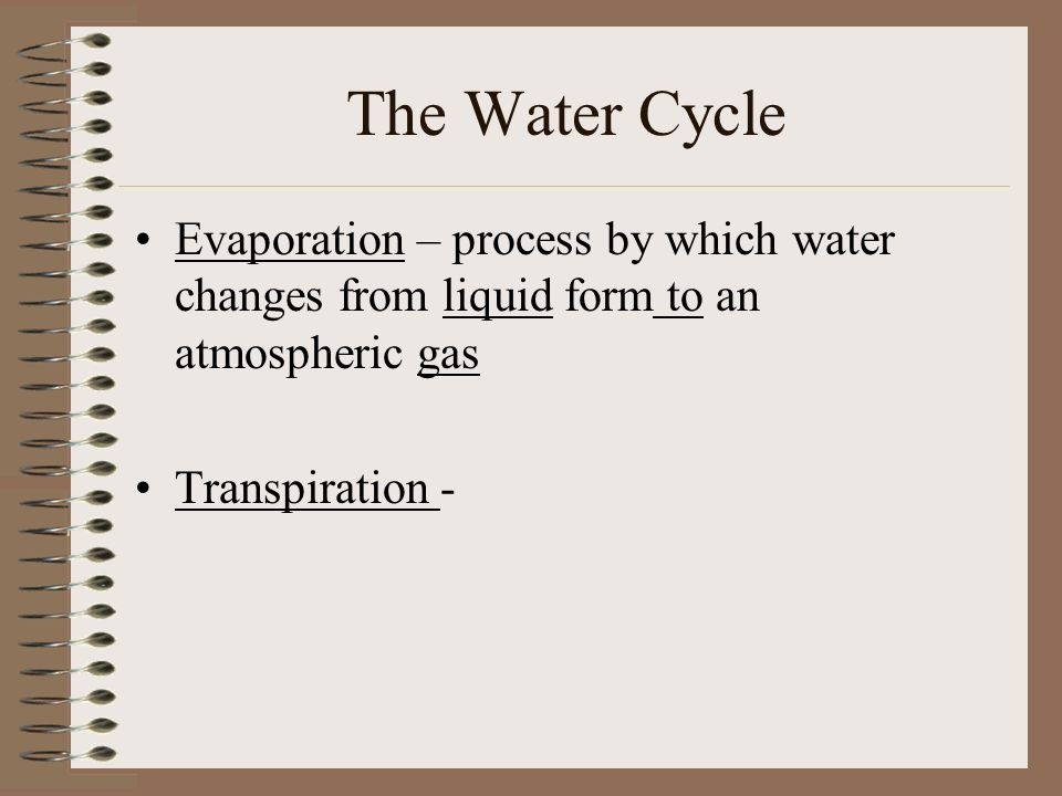 The Water Cycle Evaporation – process by which water changes from liquid form to an atmospheric gas Transpiration -