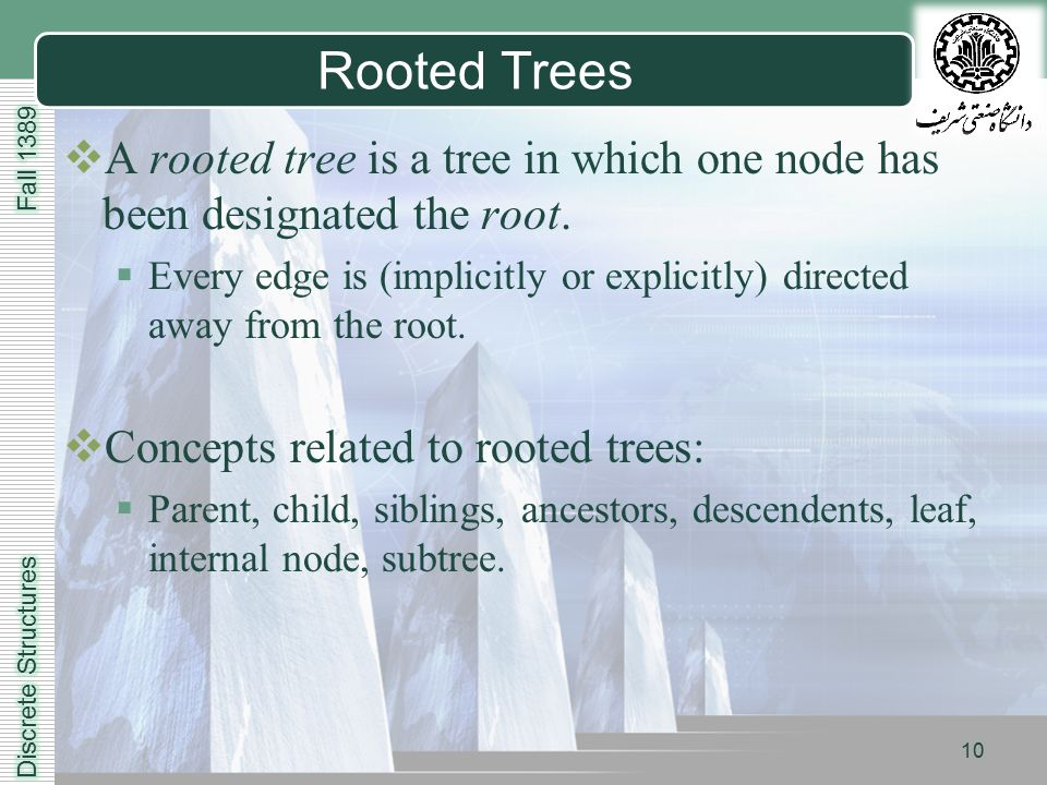 LOGO 10 Rooted Trees  A rooted tree is a tree in which one node has been designated the root.