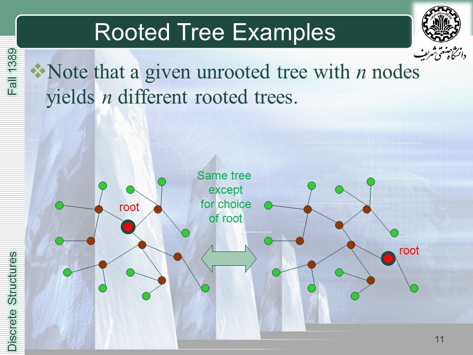LOGO 11 Rooted Tree Examples  Note that a given unrooted tree with n nodes yields n different rooted trees.