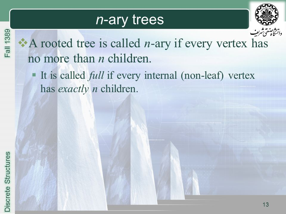 LOGO 13 n-ary trees  A rooted tree is called n-ary if every vertex has no more than n children.
