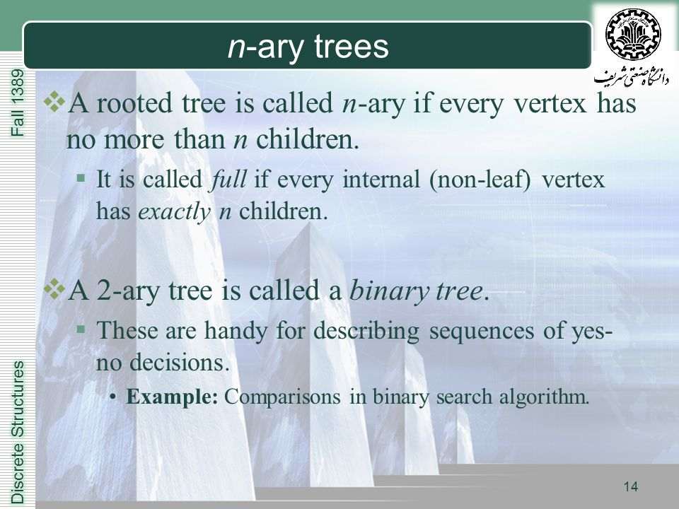 LOGO 14 n-ary trees  A rooted tree is called n-ary if every vertex has no more than n children.