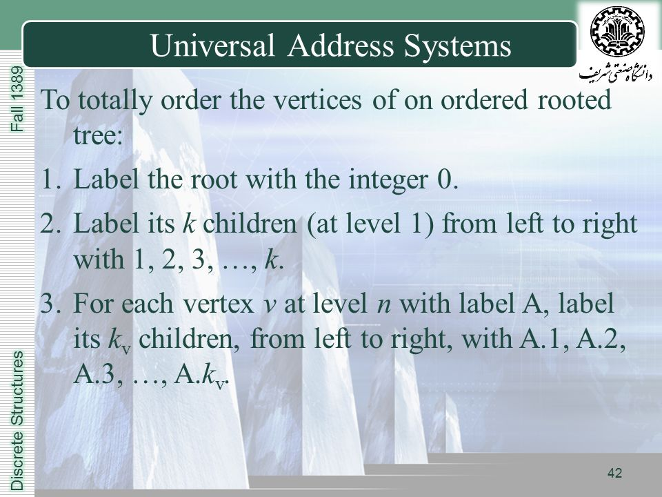 LOGO Universal Address Systems To totally order the vertices of on ordered rooted tree: 1.Label the root with the integer 0.