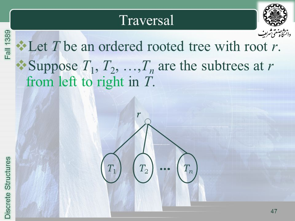 LOGO Traversal  Let T be an ordered rooted tree with root r.
