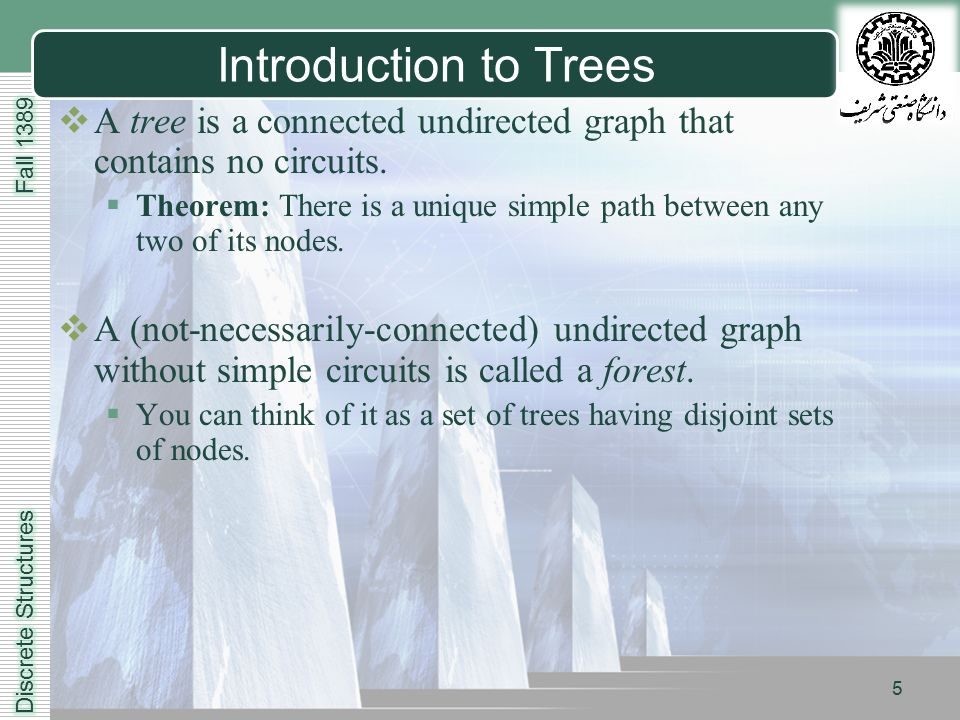 LOGO 5 Introduction to Trees  A tree is a connected undirected graph that contains no circuits.