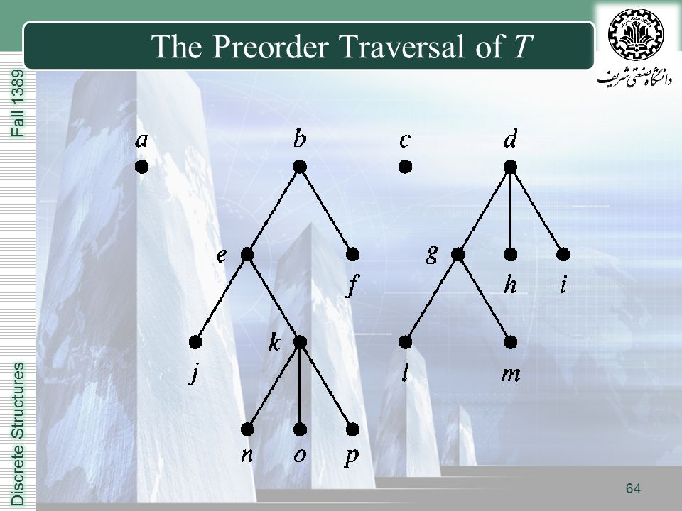LOGO The Preorder Traversal of T 64