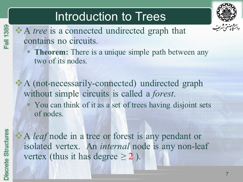 LOGO 7 Introduction to Trees  A tree is a connected undirected graph that contains no circuits.