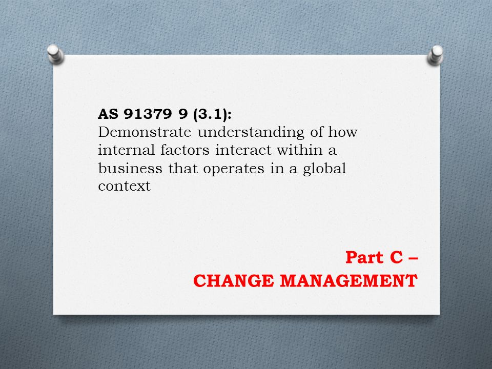 Part C – CHANGE MANAGEMENT AS 91379 9 (3.1): Demonstrate understanding of how internal factors interact within a business that operates in a global context