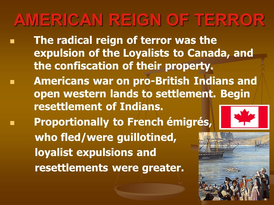 AMERICAN REIGN OF TERROR The radical reign of terror was the expulsion of the Loyalists to Canada, and the confiscation of their property.