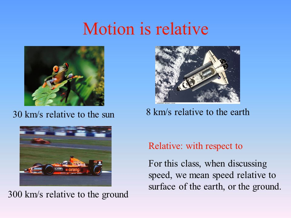 Motion is relative 30 km/s relative to the sun 8 km/s relative to the earth 300 km/s relative to the ground Relative: with respect to For this class, when discussing speed, we mean speed relative to surface of the earth, or the ground.